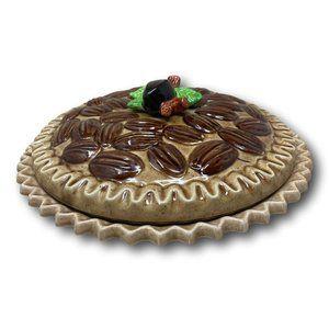Vintage Japanese Majolica Ceramic Fall Pecan Pie Holder Server Thanksgiving